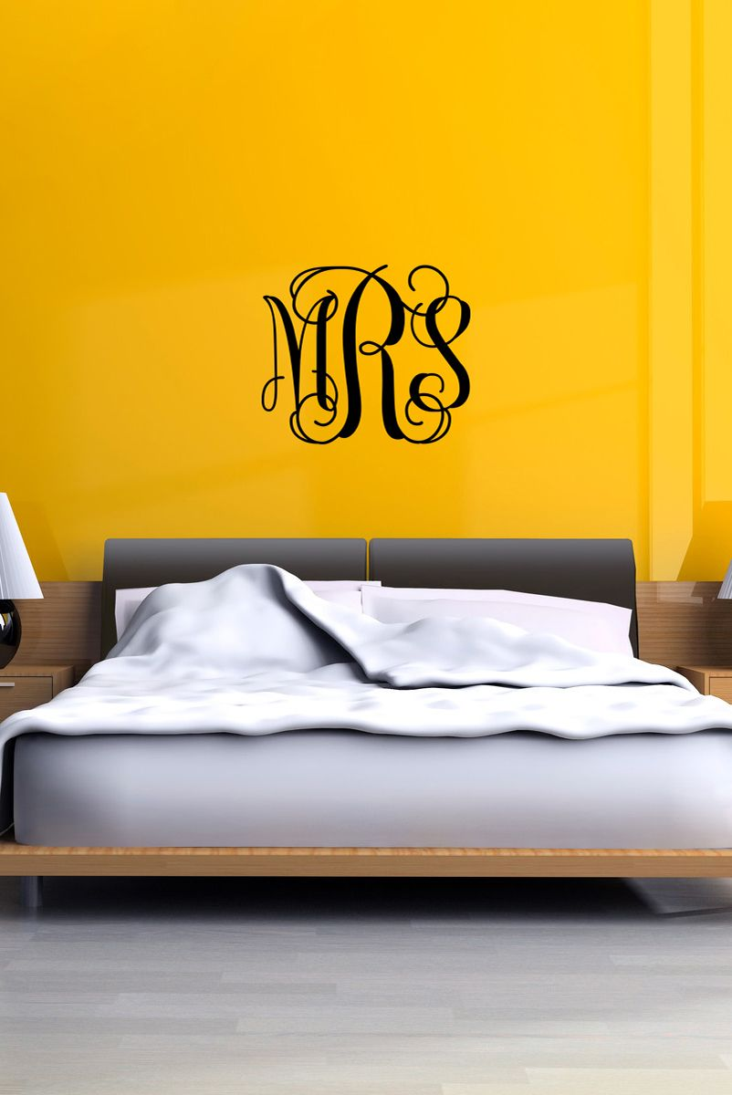 Vine Monogram Wall Decal, Personalized Initials, College Dorm Room ...