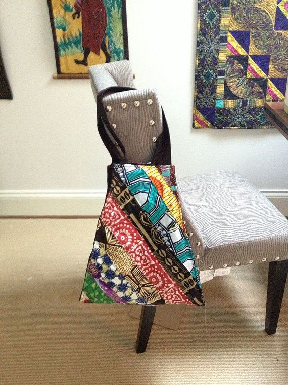 Large trapezoid bag made from African fabric. by QuiltedDelight, $75.00