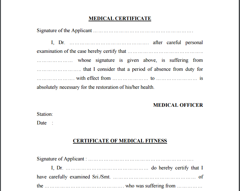 Simple Medical Certificate Format Zrom