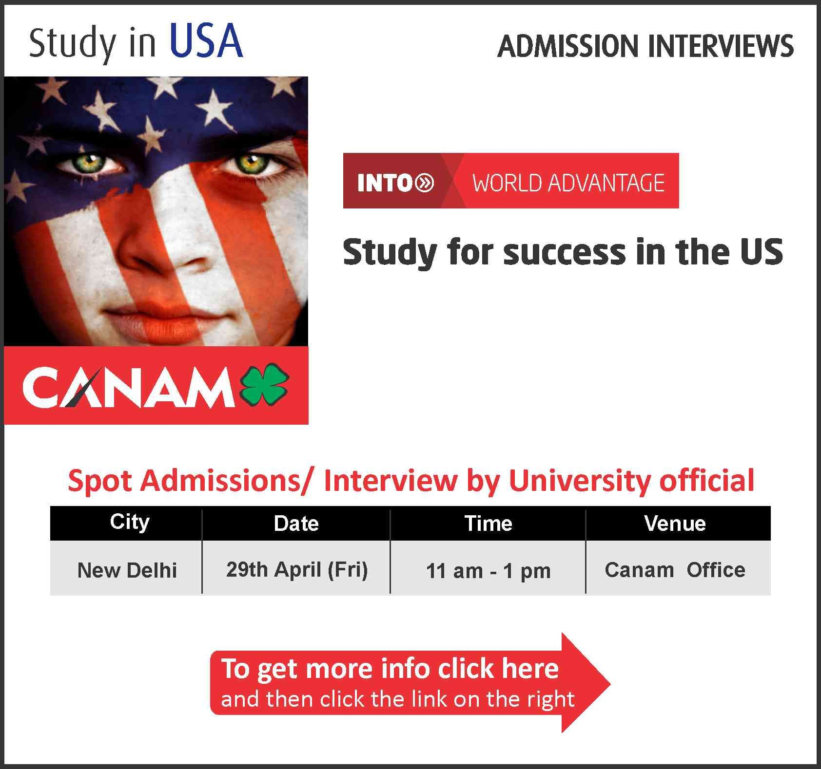 Study in USA Spot Admissions/Interview by University