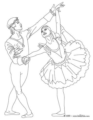 Couple Of Ballet Dances Performing An Arabesque Coloring Page