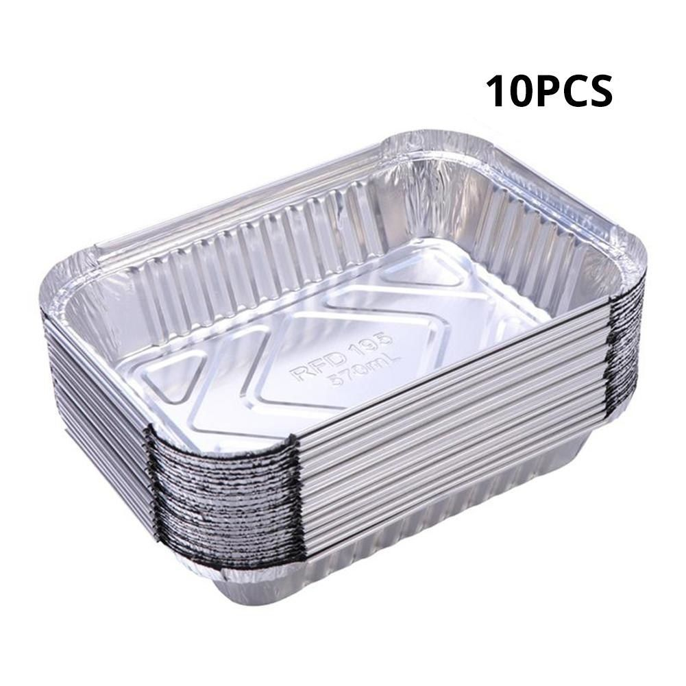 10pcs 570ml Disposable Bbq Drip Pan Tray Aluminum Foil Tin Liners