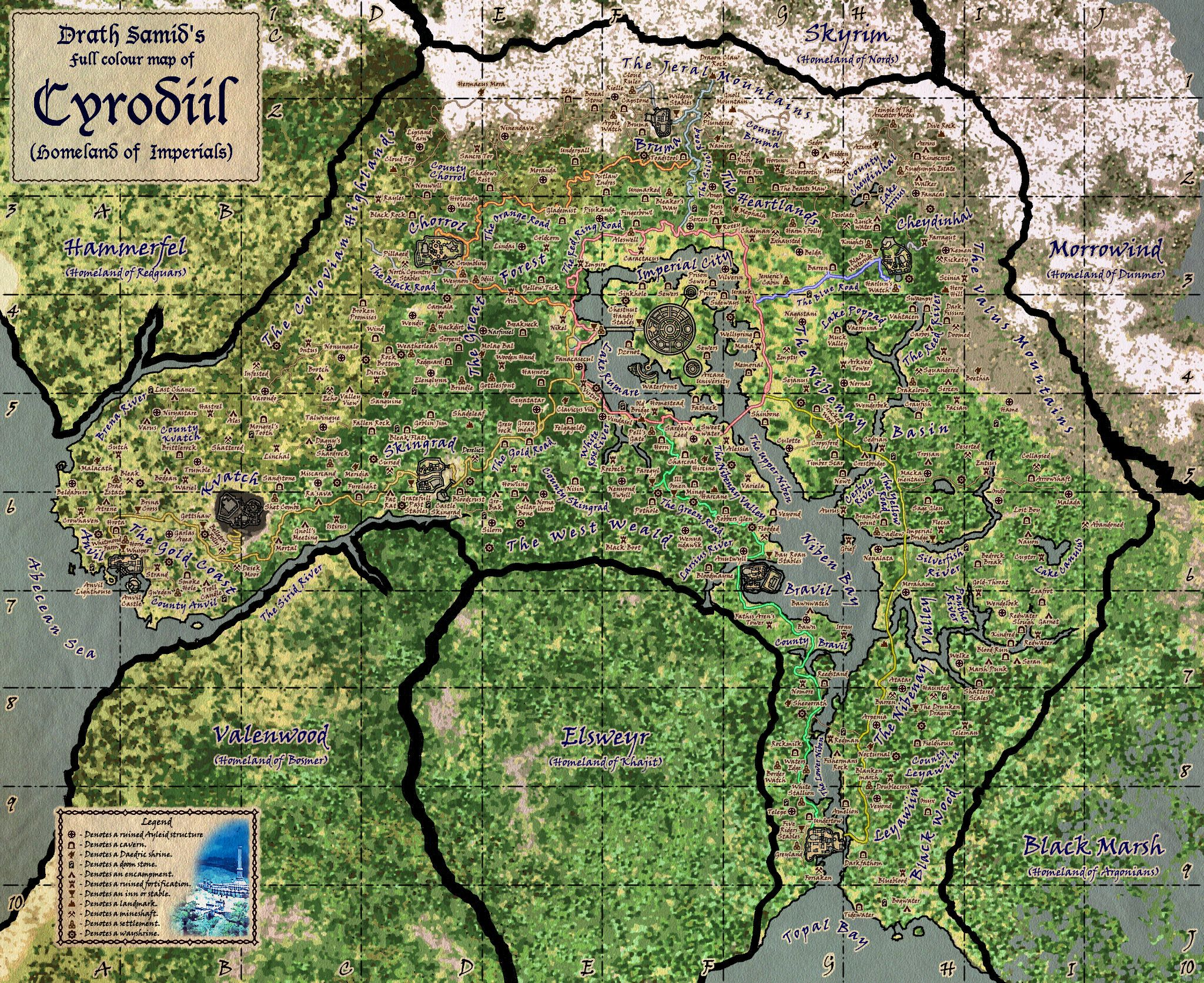 Tes Iv Cyrodiil Map By Samofsuthsax On Deviantart The Elder