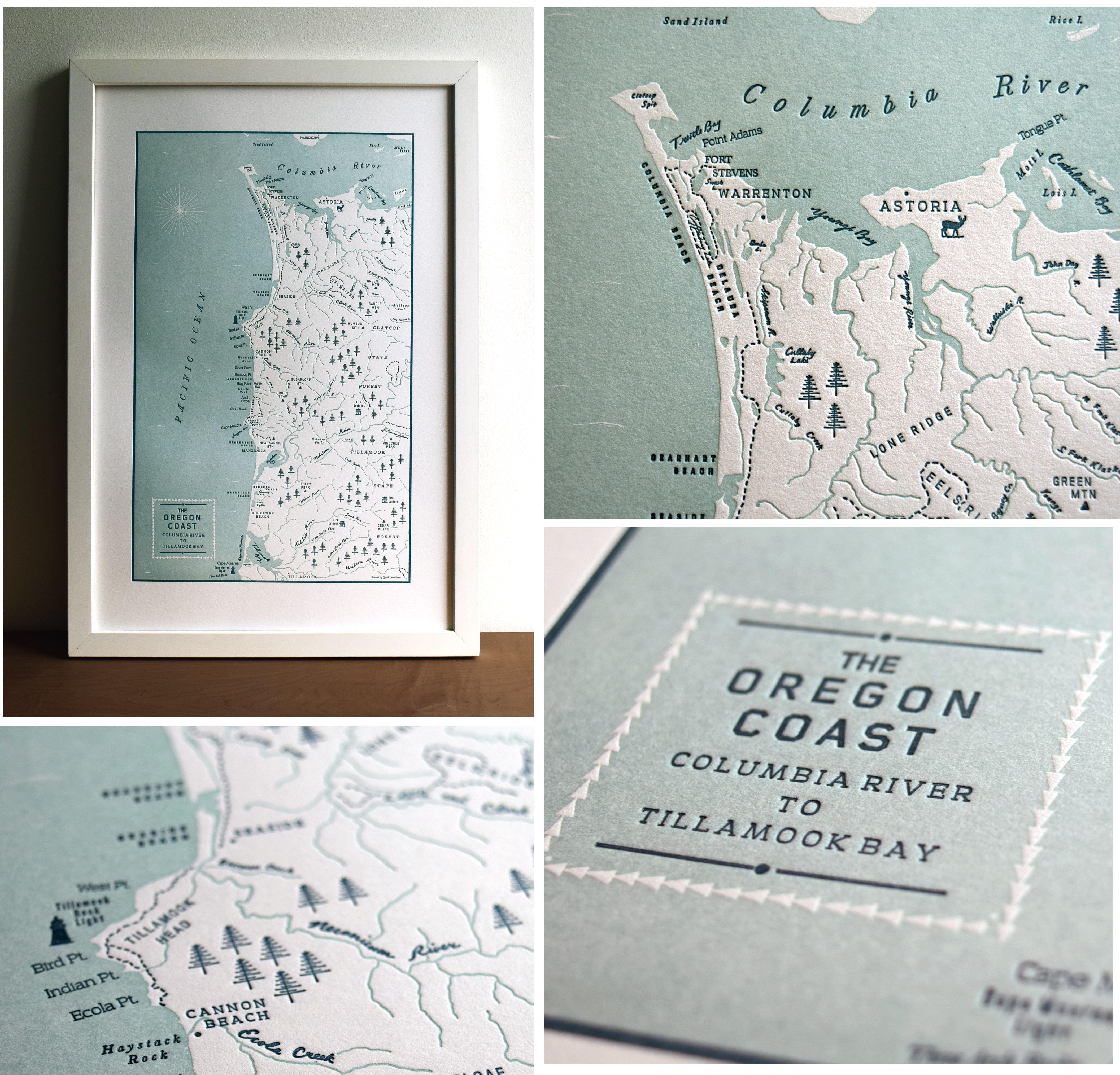 Oregon Coast Map Columbia River to Tillamook Bay Map Print in 2019
