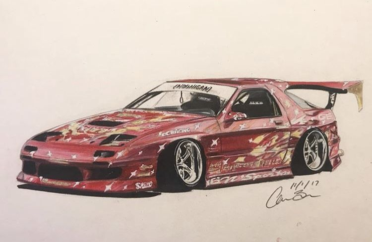 mazda rx 7 twerkstallion drift car drawing automotive artwork