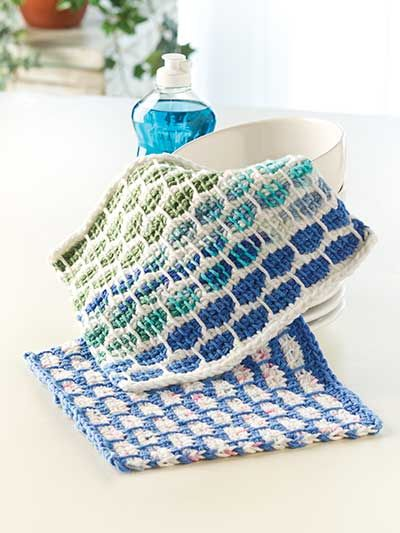 Tunisian Ball Band Dishcloth Crochet Pattern Download From