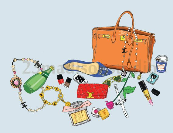 what's in my hermes bag illustration by 23madisonstudio on Etsy, $18.00