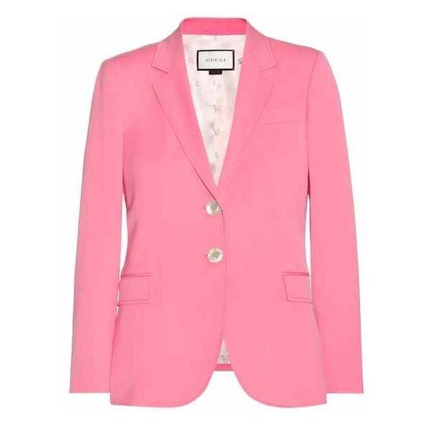 Gucci Wool and Silk Blazer ($1,980) ❤ liked on Polyvore featuring outerwear, jackets, blazers, blazer jacket, pink blazers, wool blazer, pink blazer jacket and wool jacket