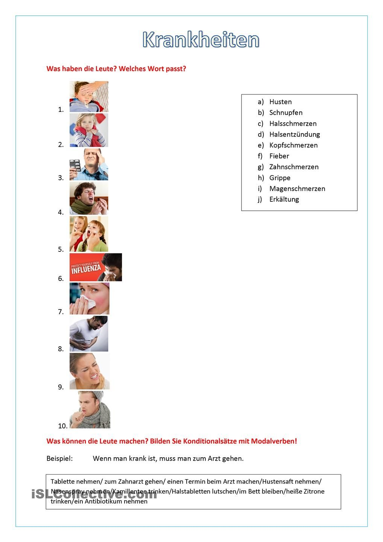 Krankheiten | Arbeitsblätter | Pinterest | Worksheets