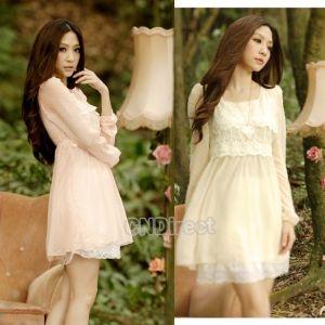 Women's Long Sleeve Casual Chiffon Lace Mini Dress