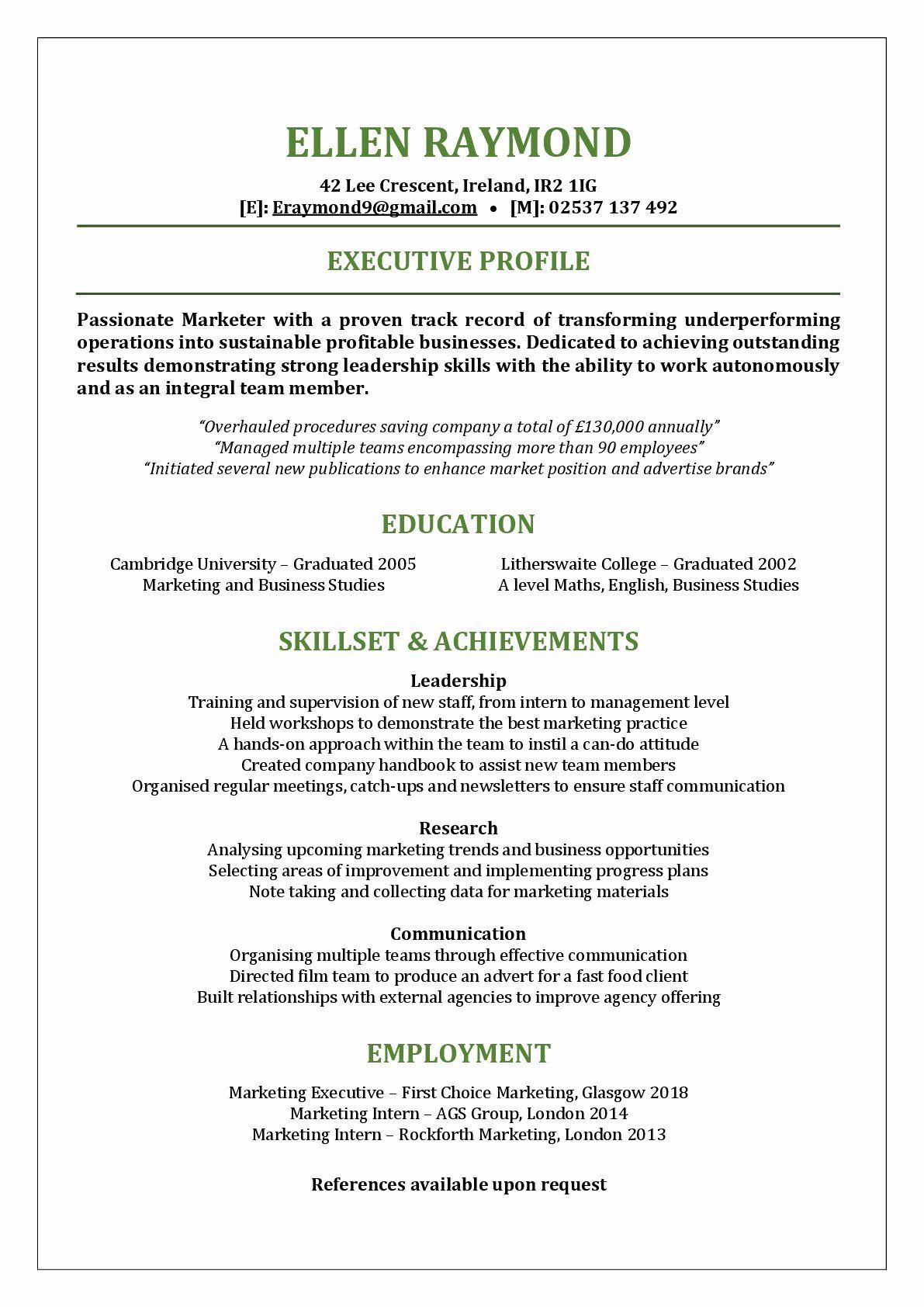 Functional Resume Format Examples