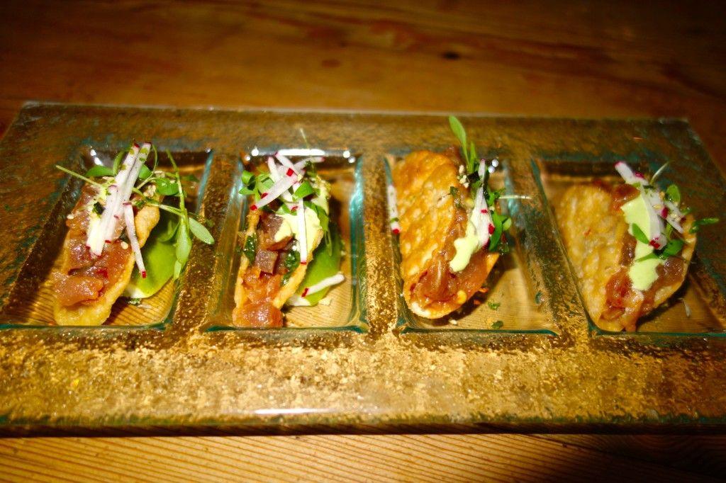 Tuna Poke Wonton Tacos micro cilantro, radish, wasabi kewpie is delicious, crunchy and super fresh at Beauty and Essex