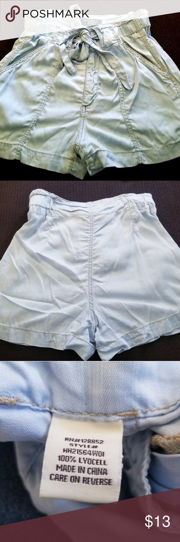 Light blue shorts Super cute dressy shorts. Very light blue denim color. Elastic & draw belt waist. Material is light and perfect for summer.  Adjustable, can fit up to 27 inch waist. Shorts #lightblueshorts