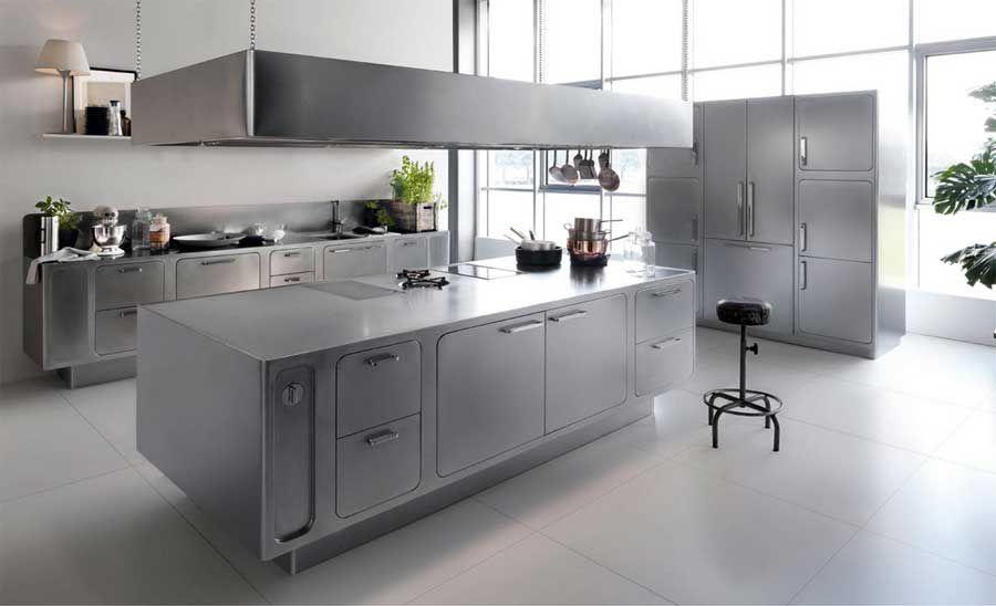 Funktionelle Küchenmöbel Ideen Edelstahl kücheninsel mit