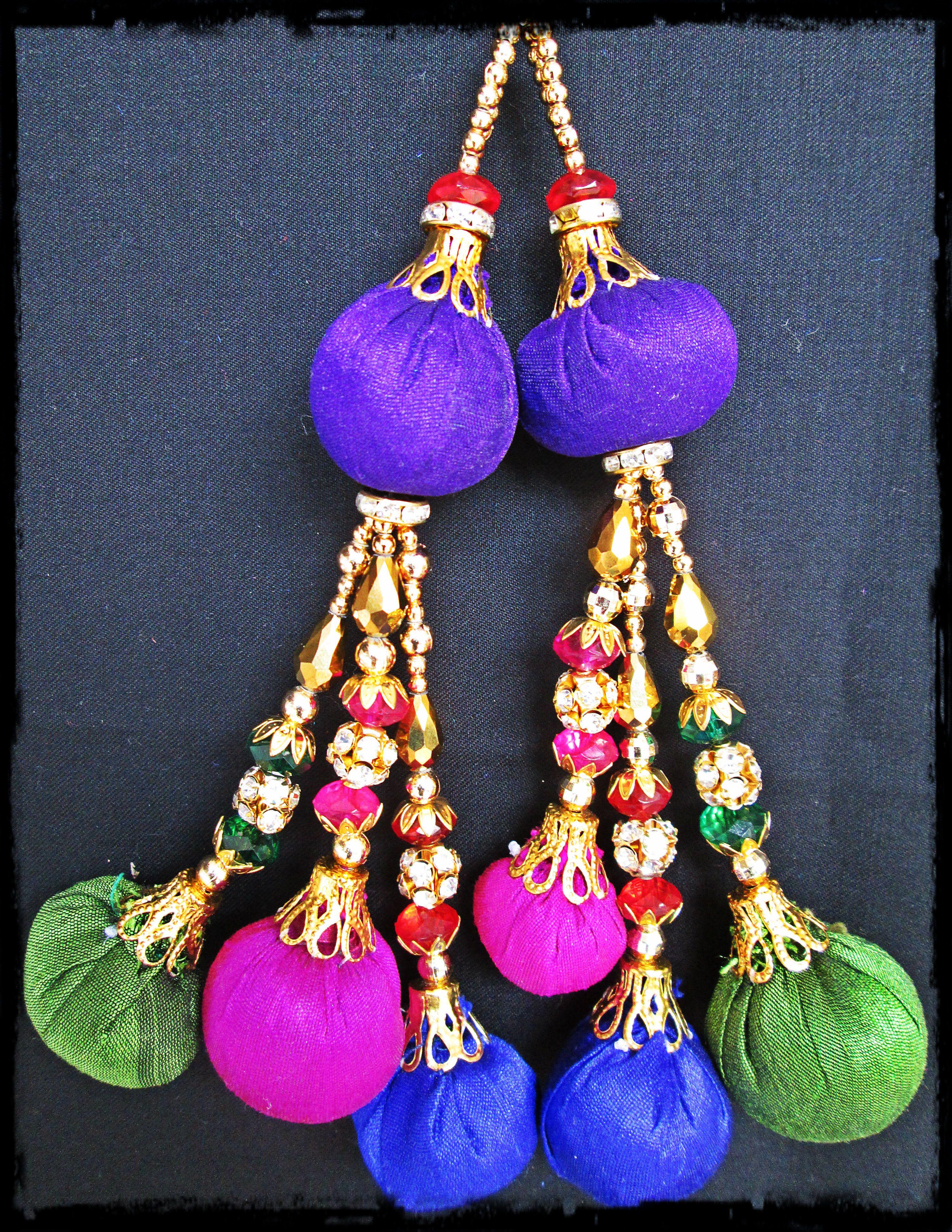 Purple Ethnic Latkans Craft Supply Decorative Tassels Accessory Indian 1 Pair