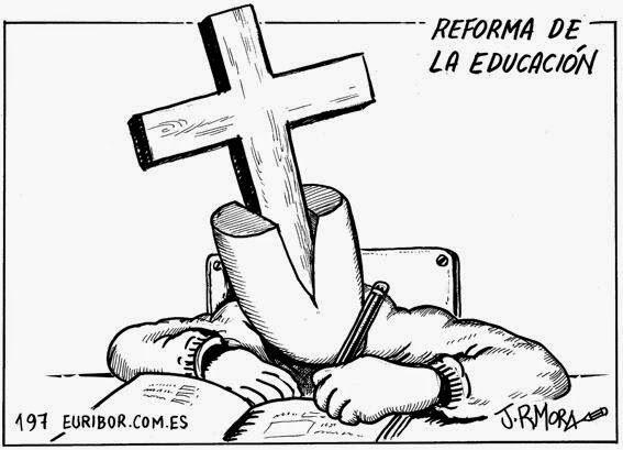 NEGRO SOBRE BLANCO: La derecha obliga a Dios a bajar a las aulas.