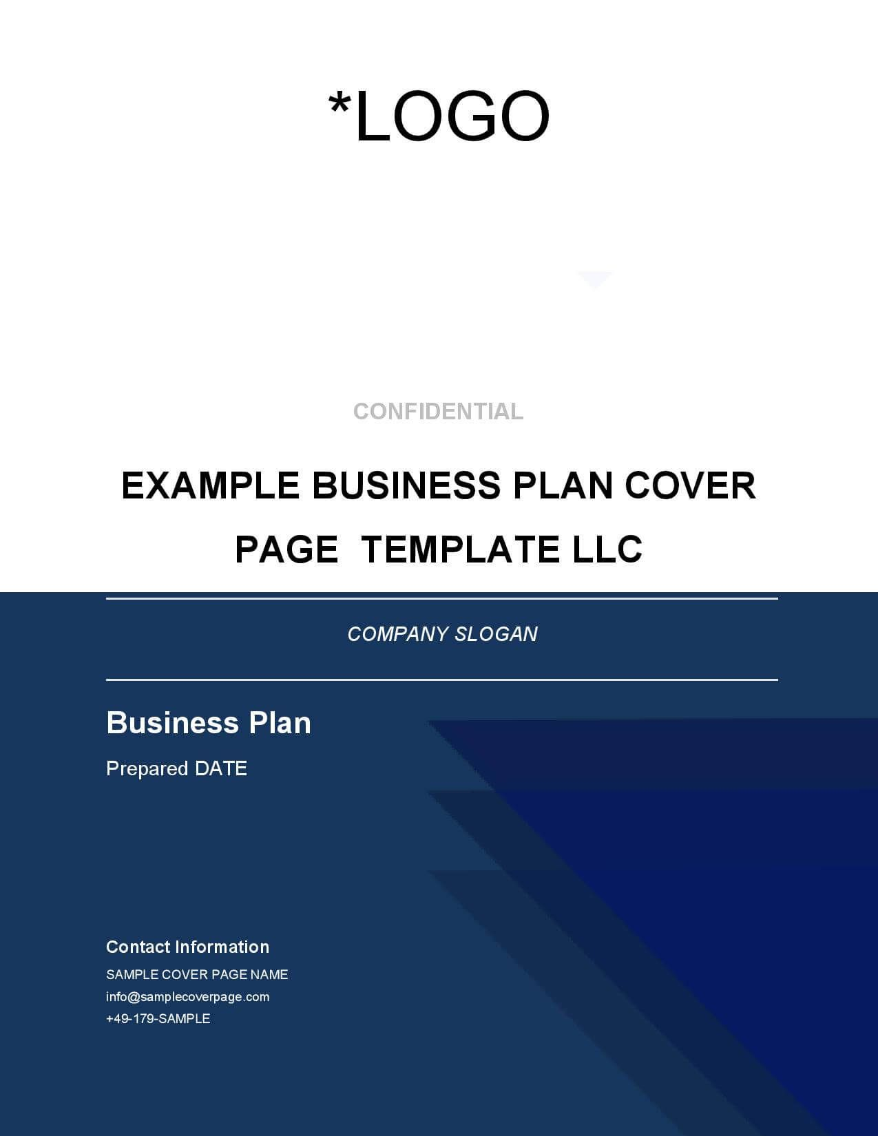 Business Plan Cover Page Template Brainhive Business
