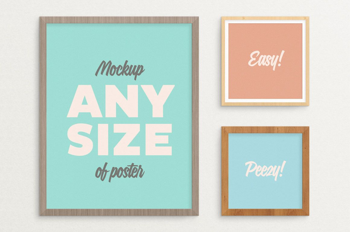 dfeadad7d1a4 Poster Frame Mockup – fits ALL sizes ~ Product Mockups on Creative Market