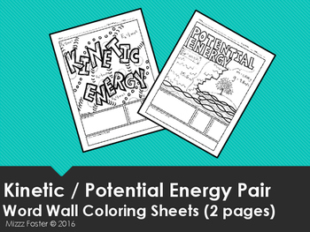 Kinetic Energy Potential Energy Word Wall Coloring Sheets 2 Pgs