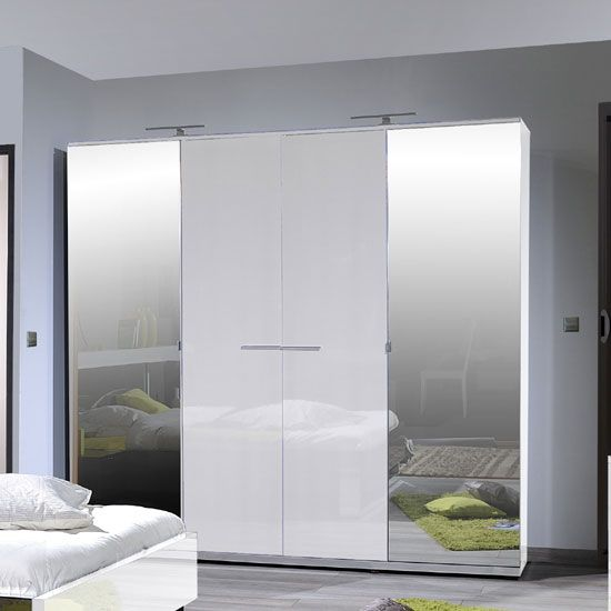 Sinatra Contemporary Bedroom Wardrobe With 4 Doors In White High Gloss Finish This Great