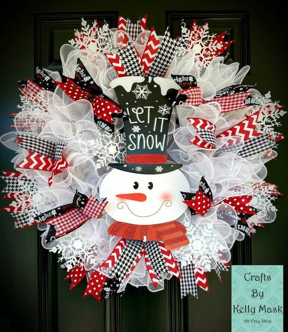 Photo of Large Beautiful Snowman Christmas Wreath made with deco mesh and ribbon. Snowman. Red black white. Let it Snow. Your choice of sign