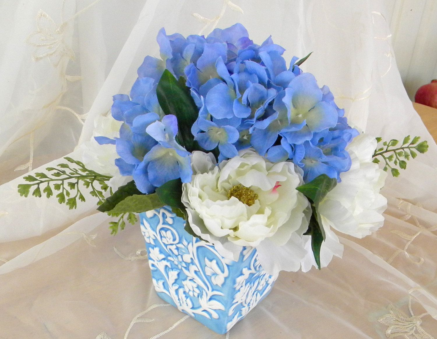 Beautiful Blue Hydrangeas and White Peonies Silk Floral Arrangement in Blue and White Ceramic Pot by RitasGarden on Etsy