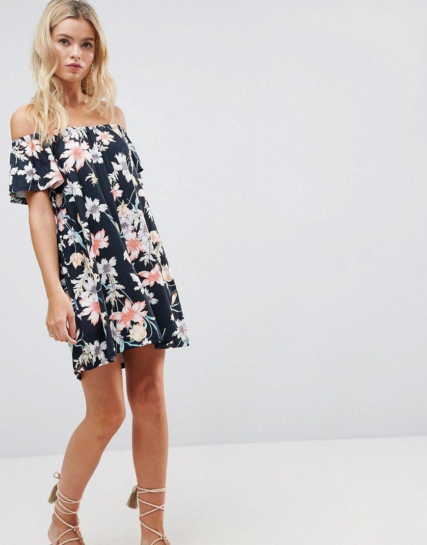ASOS Off Shoulder Dress in Navy Floral Print - Multi
