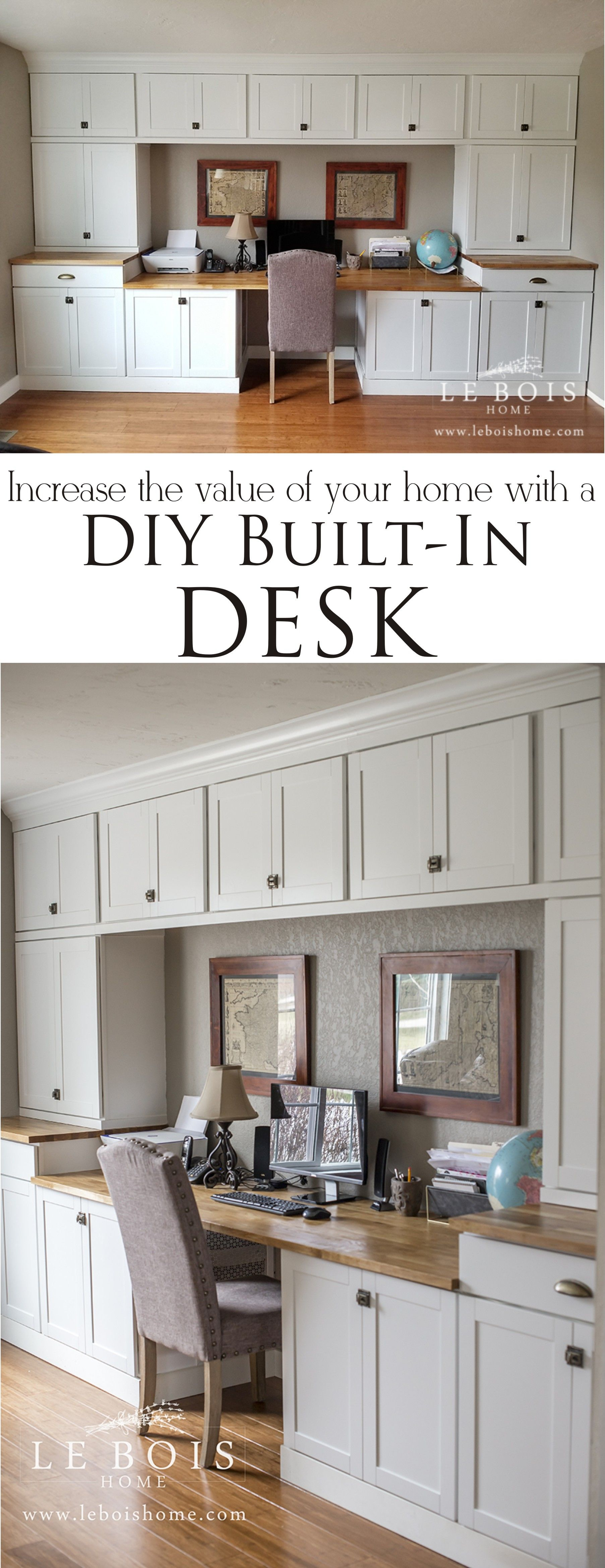 Built In Desk Using In Stock Cabinets In 2020 Home Office Cabinets Built In Desk Office Built Ins