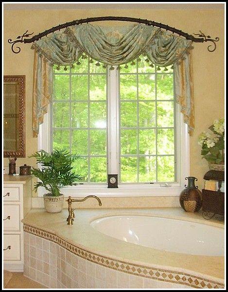 Curved Curtain Rod For Arch Window Bathroom Window Treatments