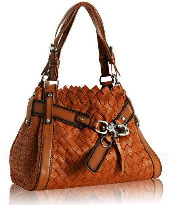 Francesco Biasia Orange Basketwoven Leather Belinda Tote Stylehive