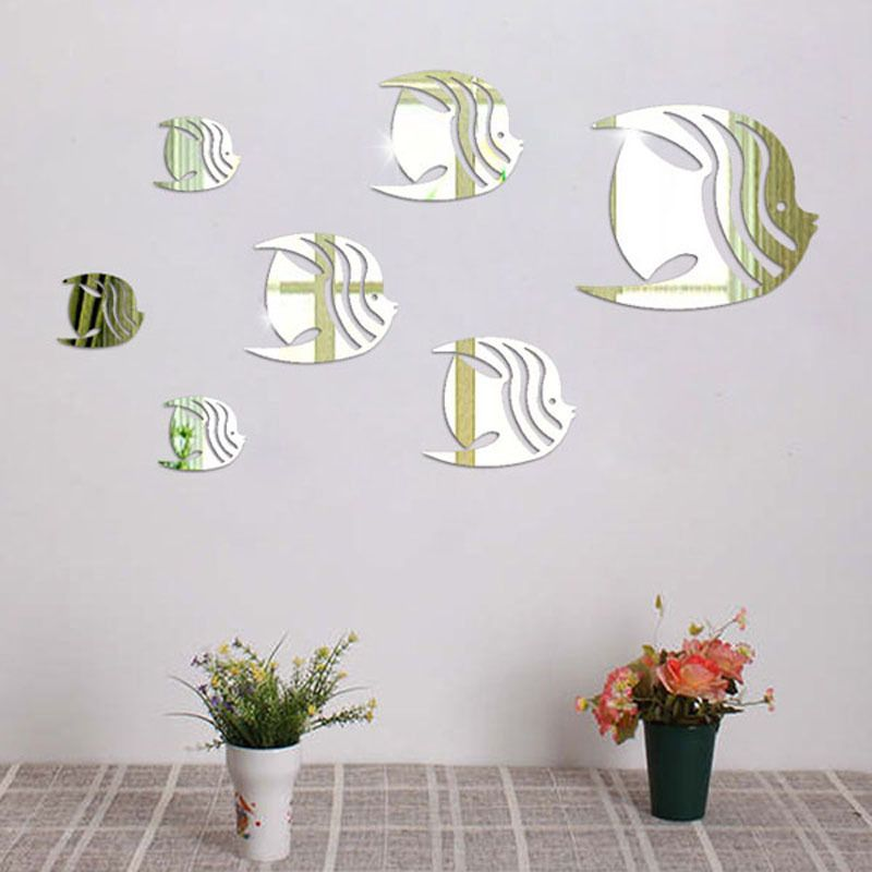 low price gold & silver colors 3d mirror wall stickers fish pattern