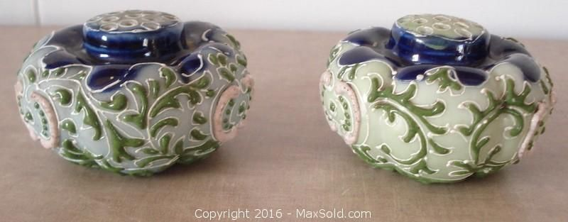 Antique Victorian Moriage Ware Deep Blue Pastel Green Shakers