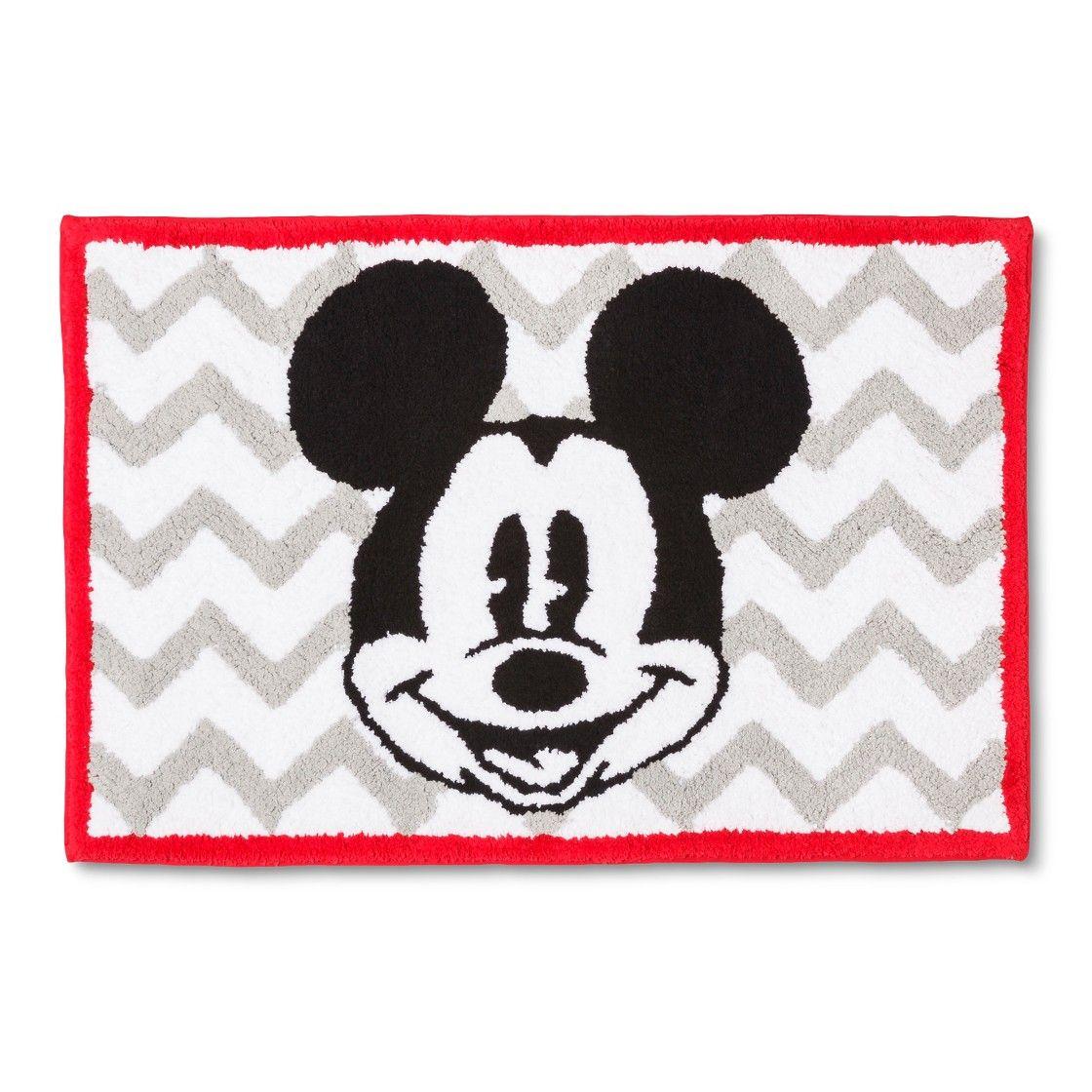Disney Mickey Mouse Chevron Bath Rug Gray White 21x30