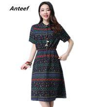 new fashion cotton linen plus size vintage print women casual loose autumn summer dress vestidos femininos party 2017 dresses