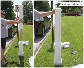 quick easy mailbox makeover, curb appeal, diy, The new mailbox post fit right over the top of our existing post