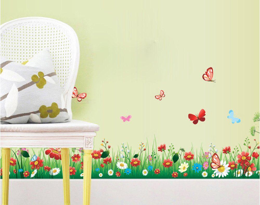 ufengke® Beautiful Flower Green Grass and Butterflies Wall Decals ...