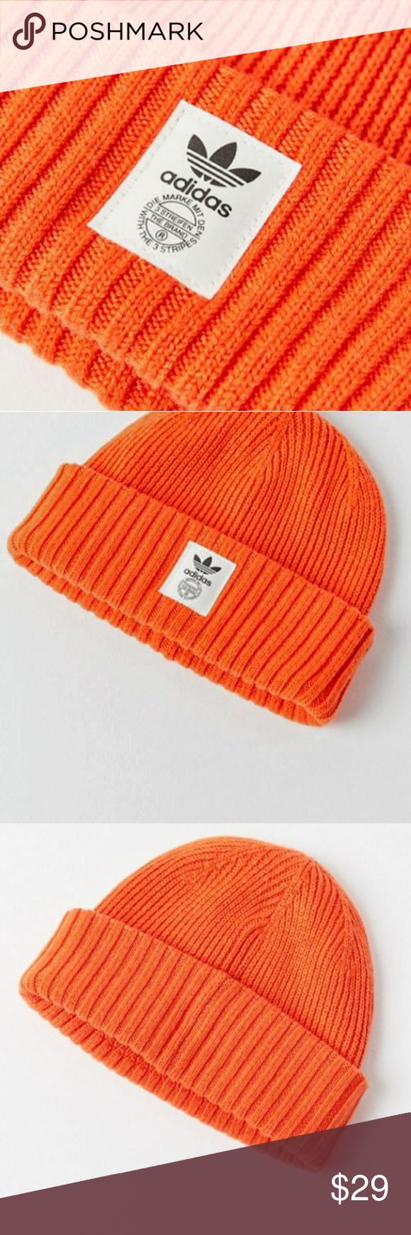 432aeb8e4 Adidas Originals Orange & Off-White Beanie WITH THE 3 STRIPES ...