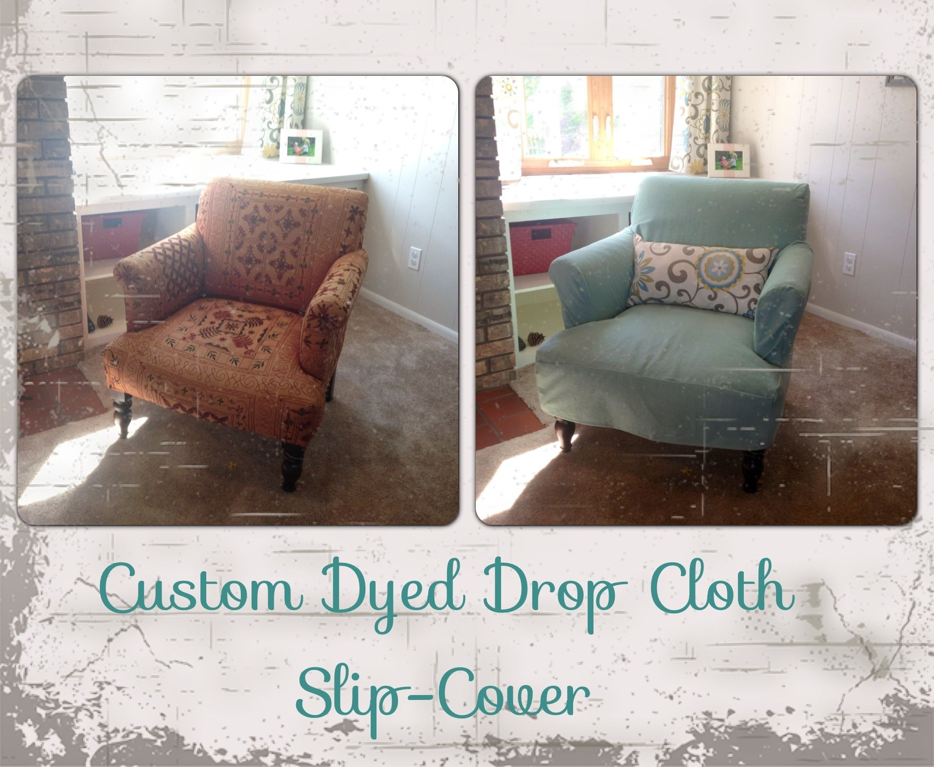 Custom Dyed DIY Drop Cloth Slip Cover with accent pillow Prewash