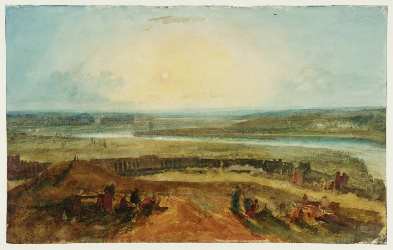 Artwork details  Artist  Joseph Mallord William Turner (1775‑1851)  Title  The Roman Campagna from Monte Testaccio, Sunset  From Naples: Rome. C. Studies Sketchbook  Turner Bequest CLXXXVII  Date  1819  Medium  Gouache, graphite and watercolour on paper