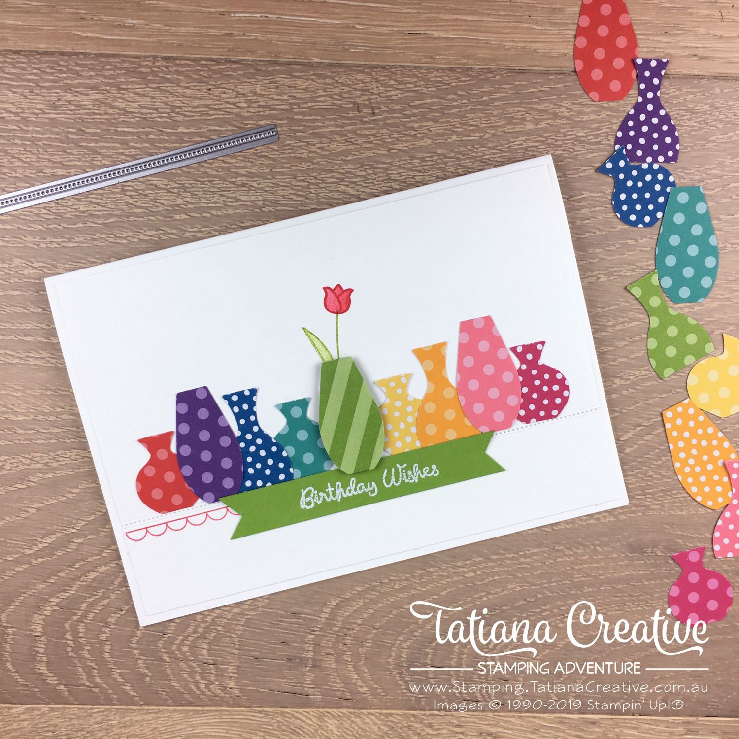 Tatiana Creative Stamping Adventure - Bright Birthday Vases card using the Vases Builder Punch by Stampin' Up!® #flowercards