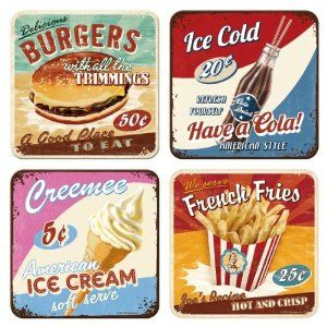 American Fast Food set of 4 cork backed drinks coasters (na): Amazon.co.uk: Kitchen & Home