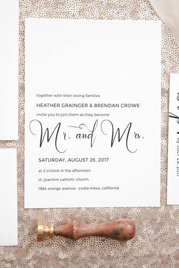 Simple White Wedding Invitations Minimalist Wedding | Wedding ...