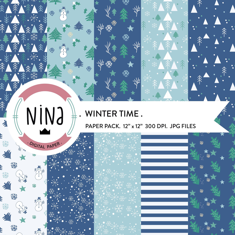 Winter Digital Paper Xmas Digital Paper Digital Scrapbook Etsy In 2020 Christmas Paper Digital Paper Digital Scrapbooking Kits