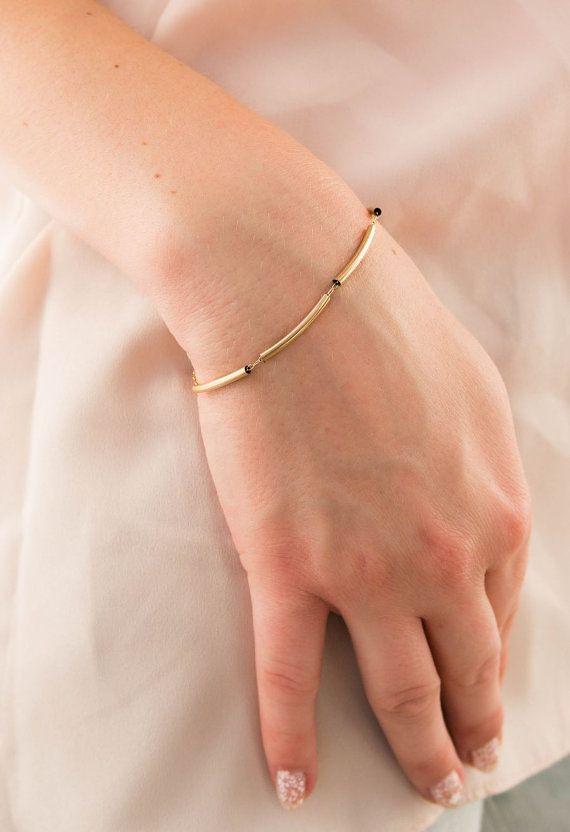 Gold Tube Bracelet Minimalist Gold Bracelet Gold by GoldValentina
