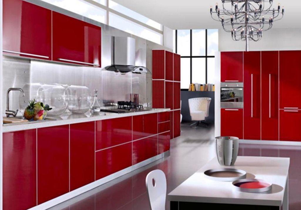 Gran cocina roja IDEAS Pinterest Cocina roja, Rojo y Cocinas