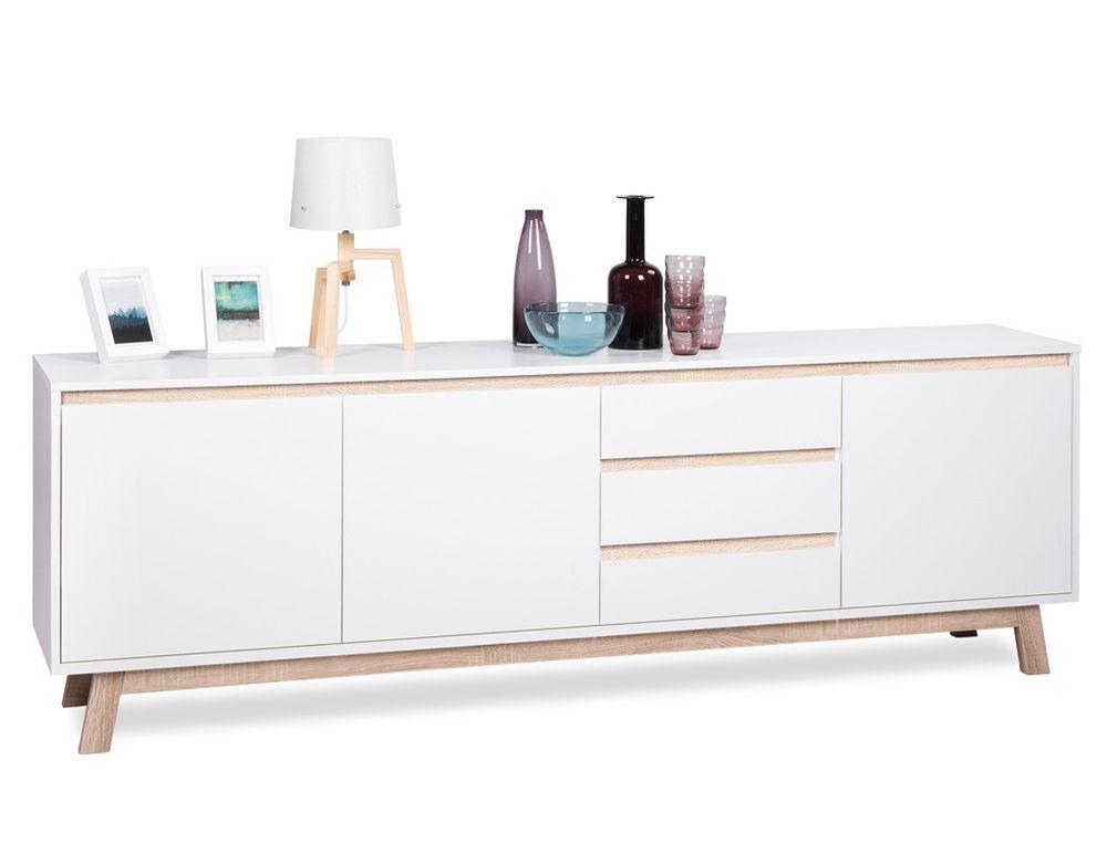 Sideboard Weiss 200x67x40 Cm Schrank Wohnzimmerschrank Lowboard Wohnzimmer Anzo 3 Furniture Large Sideboard Dining Room Contemporary