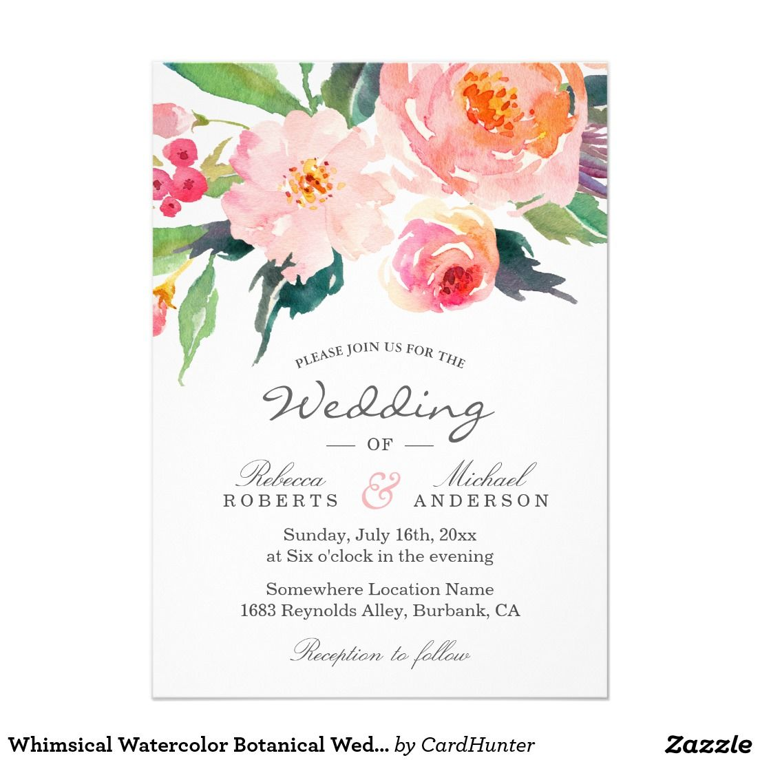 Whimsical Watercolor Botanical Wedding Invitation Botanical
