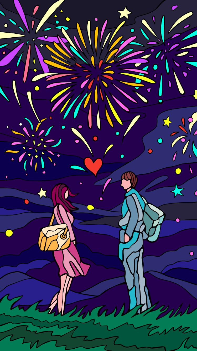 """Fond D Ecran Couple Feu D Artifice Amour CÅ""""ur Nuit Fond Ecran Coloriage Fond D Ecran Couple"""