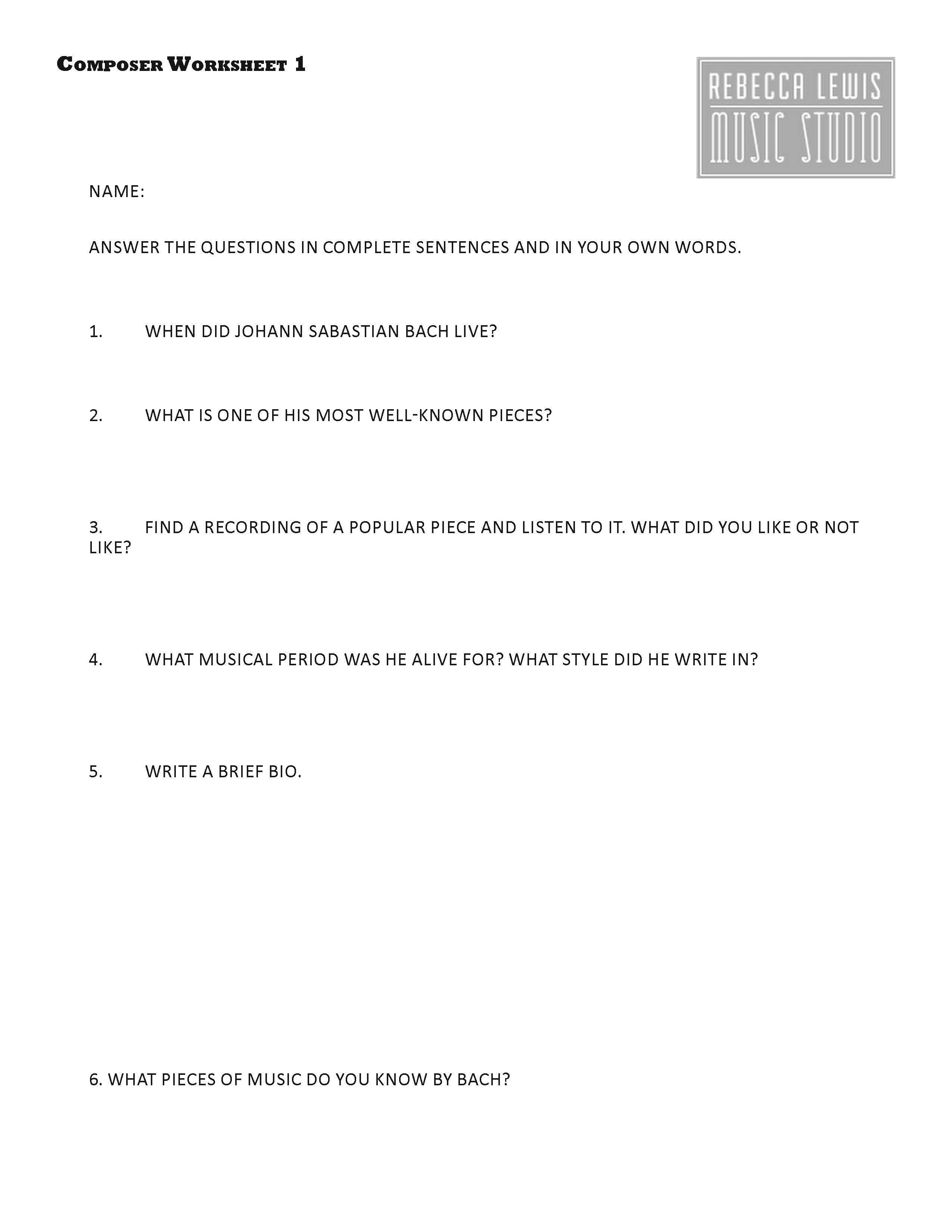 Worksheets Music Composer Worksheets bach composer worksheet from rebecca lewis music studio violin studio