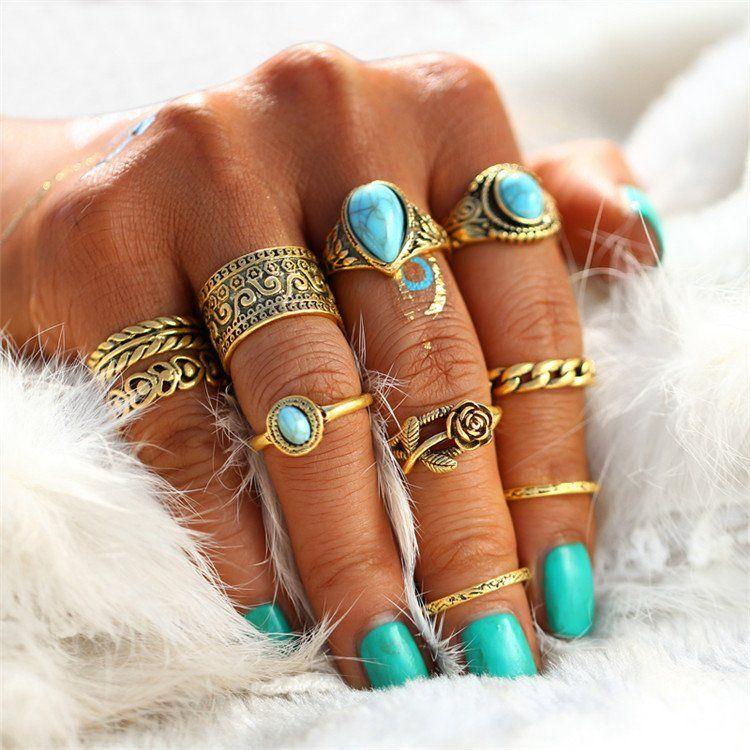 Turquoise Boho Rings